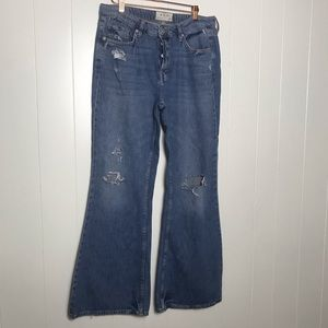 FP - We The Free Jeans Distressed Wide Leg Size 31
